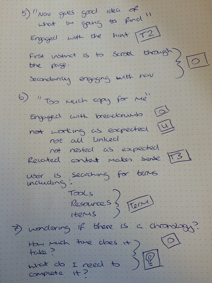 Image of example coded research notes