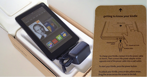 Image of a Kindle Fire out of the box