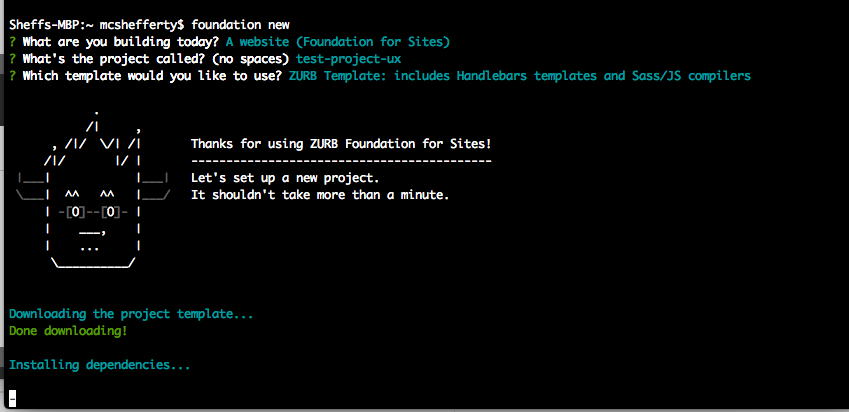 Terminal - installing foundation CLI